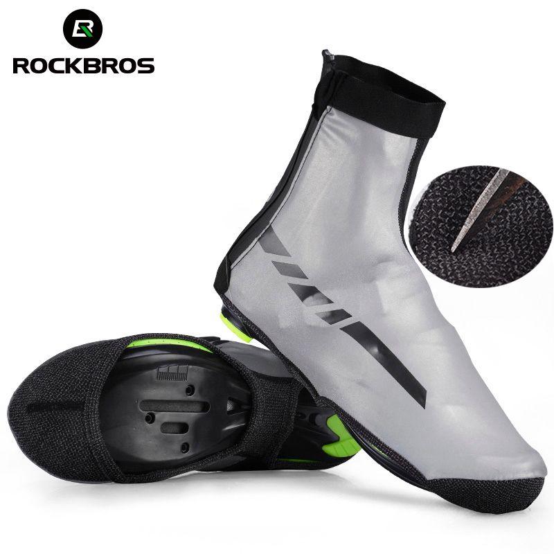 ROCKBROS Wasserdichte Sport Schuhe Abdeckung Reflektierende Thermische MTB Radfahren Rennrad Winddicht Überschuhe Lycra Stoff Bike Schuh Abdeckung
