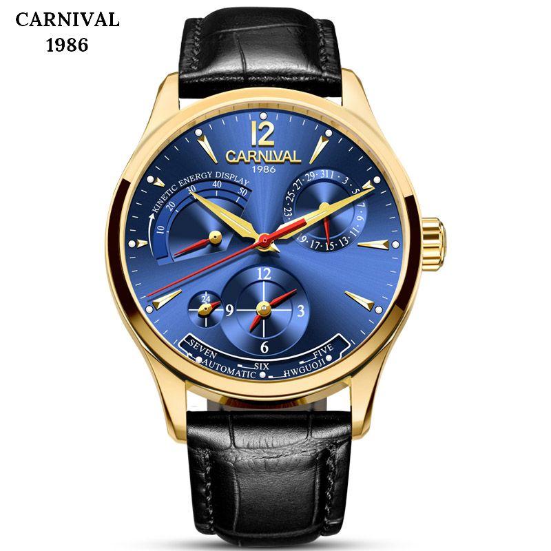KARNEVAL Kinetische Energie Display Herren Uhren Top-marke Luxus Automatische Mechanische Männer Uhr Leder Wasserdichte Sport Männlichen Uhr