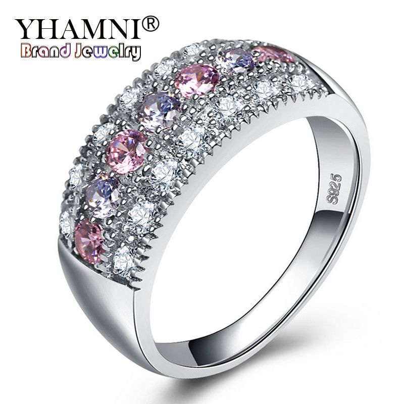 YHAMNI Original Real Solid 925 Silver Rings Luxury Fine Jewelry Multicolor Cubic Zircon Fashion Accessories Rings for Women KY01
