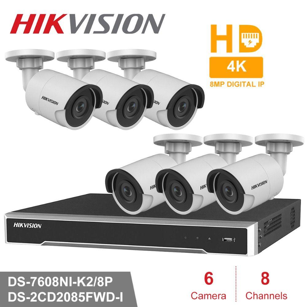 Hik 8CH HD POE NVR Kit 6 stücke 8MP DS-2CD2085FWD-I CCTV Sicherheit System Kugel Outdoor IP Kamera IR Nacht Vision überwachung Set