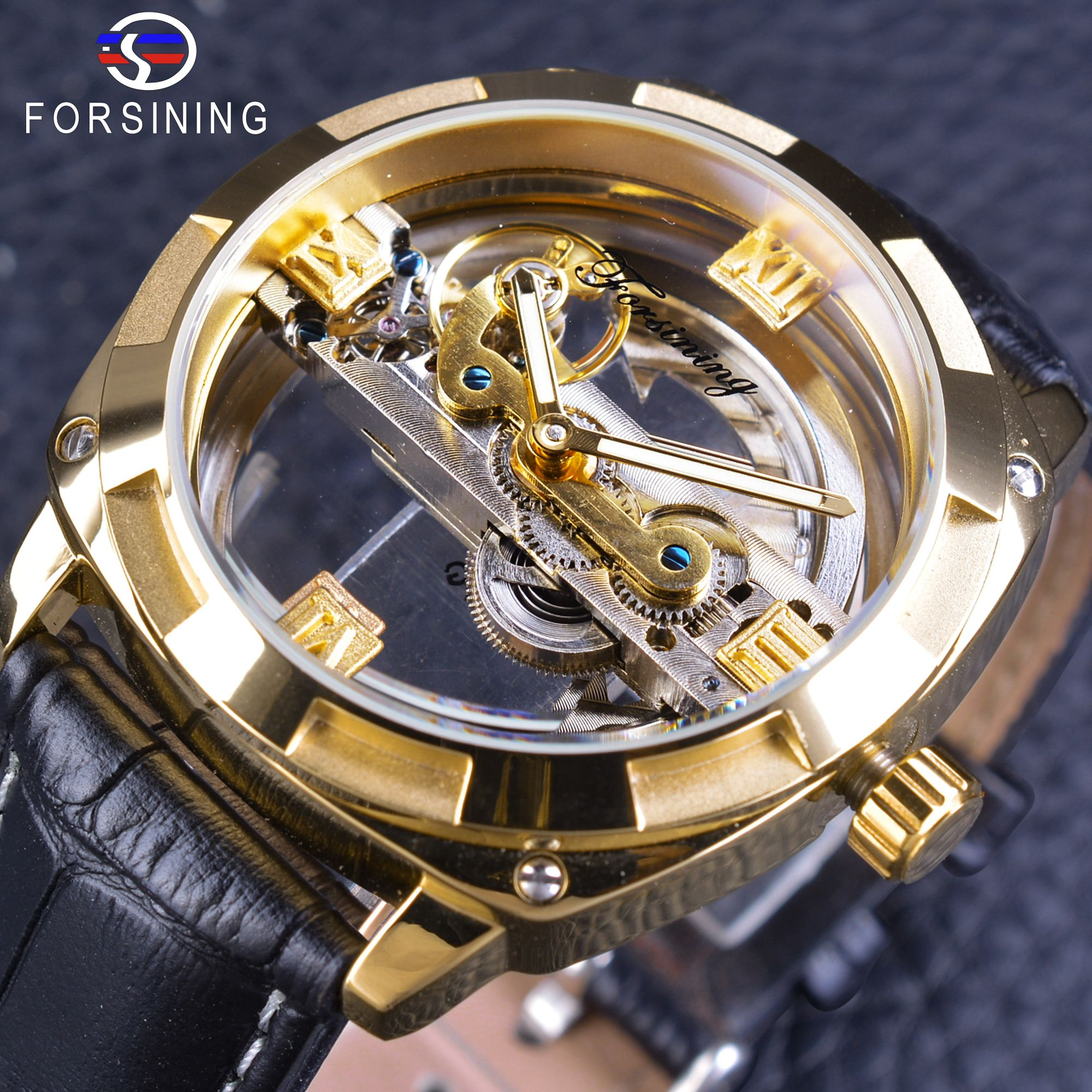 Forsining Official Exclusive Sale Golden Double Side Men's Watch Top Brand Luxury Automatic Wristwatches Genuine Leather Strap