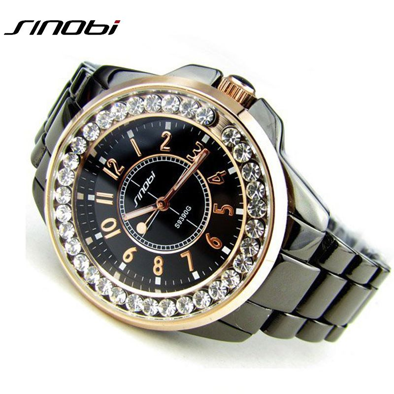 <font><b>Bling</b></font> Rhinestone SINOBI Luxury steel Quartz Watch Women Clock female Ladies Dress Wristwatch Gift Silver Gold 2017 relojes mujer