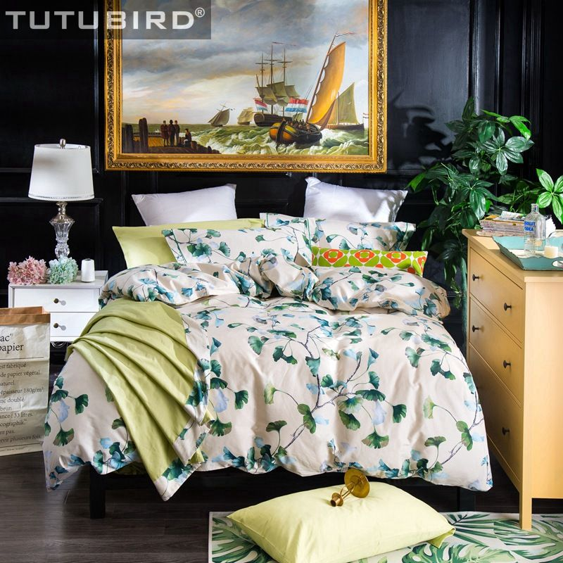 TUTUBIRD- Luxury Egypt cotton bed linen leaf print Bedding Set pastoral style Bed set long staple duvet covers Soft Bedclothes