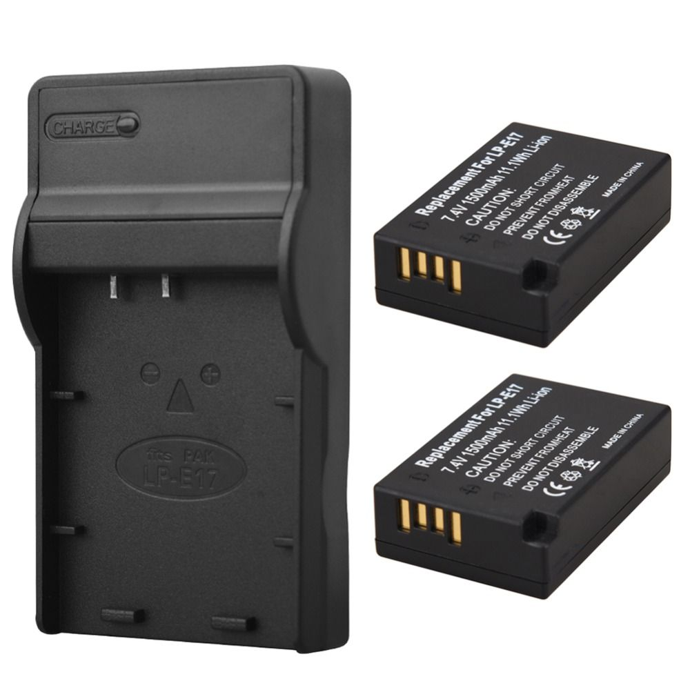 2x 1500mAh LP-E17 LPE17 Camera Battery + USB Charger For Canon EOS M3 M5 750D 760D T6i T6s 8000D Kiss X8i Battery