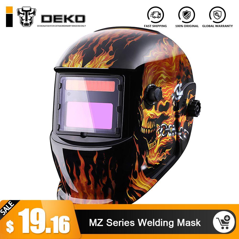 DEKO Crâne Solaire Auto Assombrissement MIG MMA masque de soudure Électrique/Casque/Casquette de soudeur/Soudage Lentille pour poste à souder