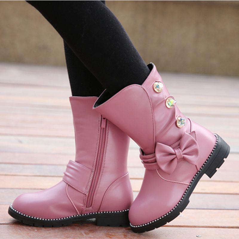 Filles de mode En Cuir Bottes Enfants D'hiver Chaussures Mi-mollet Arc Princesse Snow-Boots Chaussure Fille Moto Appartements Chaussures TX246