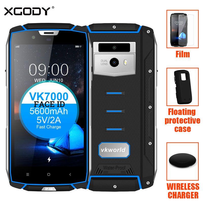 Vkworld VK7000 Gesicht ID IP68 Wasser Stoßfest Smartphone 5,2 ''4GB RAM + 64 gb ROM OTG 16MP + 13MP 5600 mah Fingerprint 4g Handy