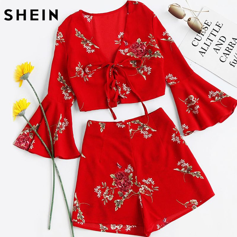 SHEIN Womens Sets Two Piece 2017 Red Floral Falre Sleeve V Neck Lace Up Crop Top With Shorts Sexy Women Summer Set