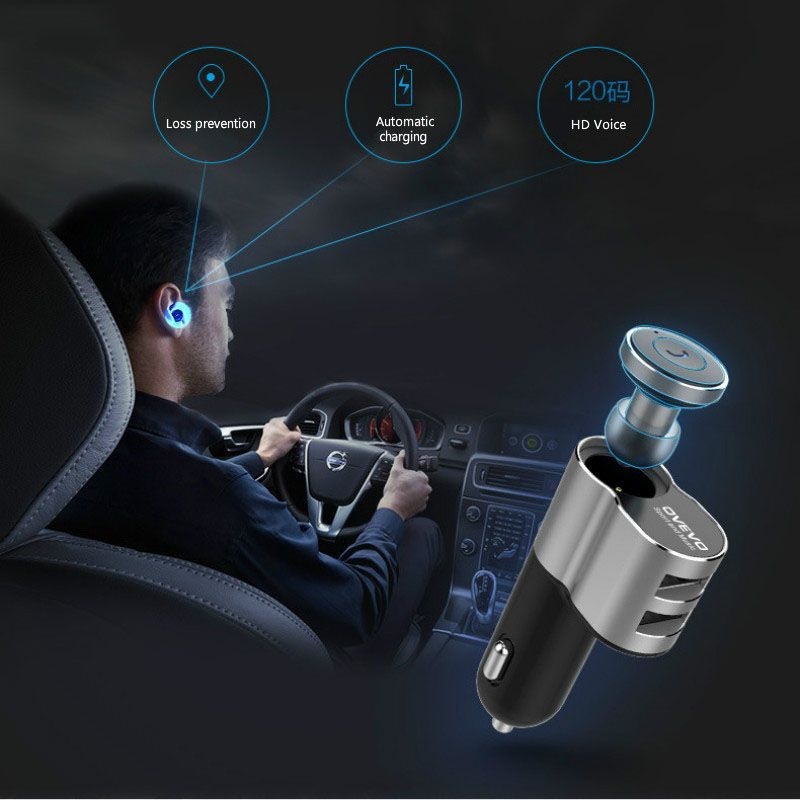 UVR Car Charger & Earphone Bluetooth Earphone 2 USB Automatic Charge for Iphone 7 6 Samsung S8 Car-Charger Adapter