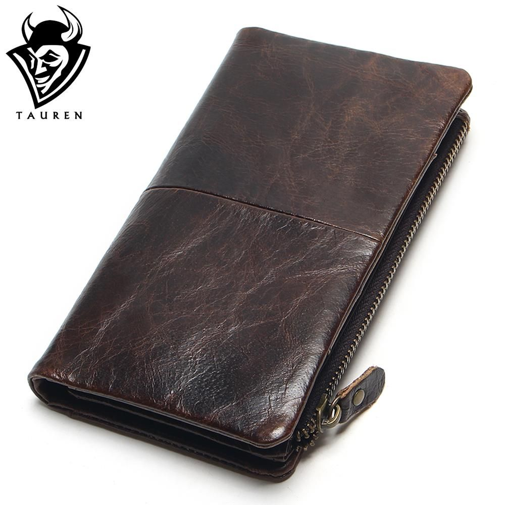 The 2018 New First Layer Of Real Leather Men's Oil Wax Retro High-Capacity Multi-Card Bit Long Wallet Clutch Men Genuine