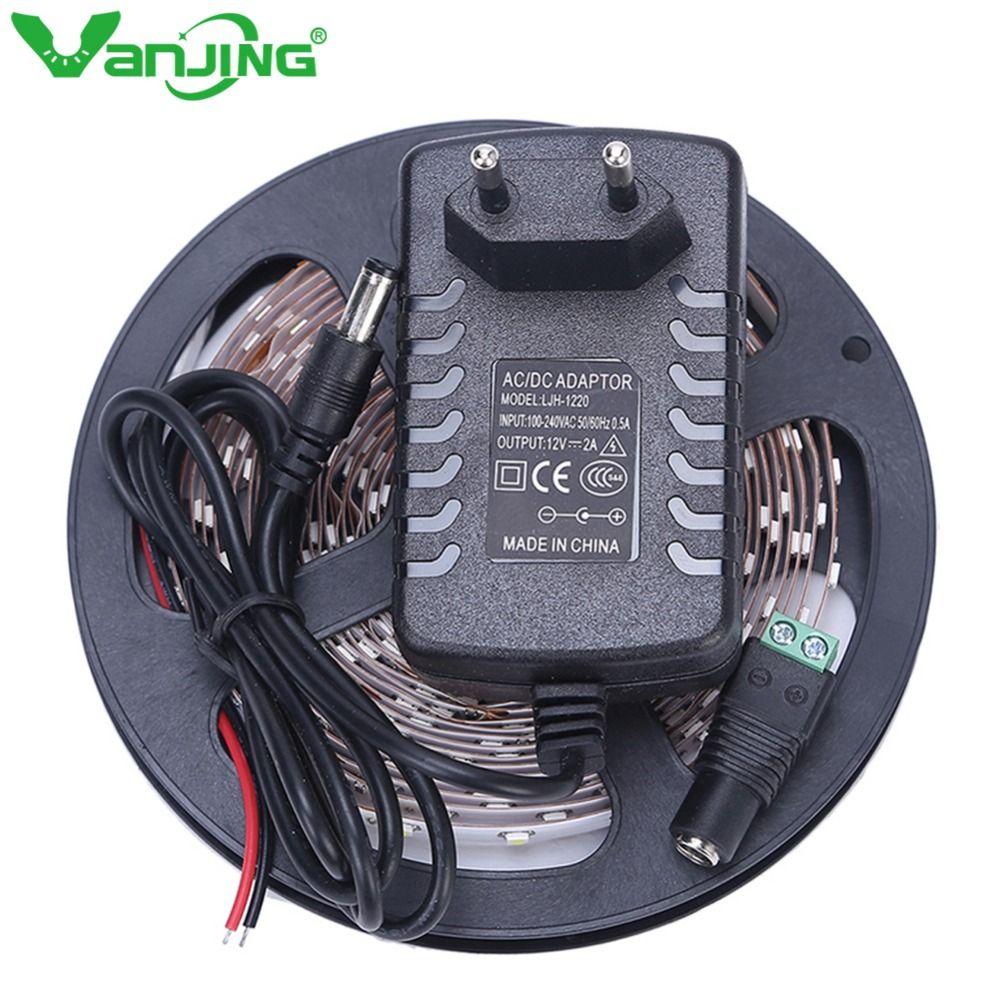 Bande LED lumière 5 M 300 LED s SMD 3528 Diode bande 12 V avec 2A alimentation adaptateur haute qualité ruban LED bande de LED Flexible