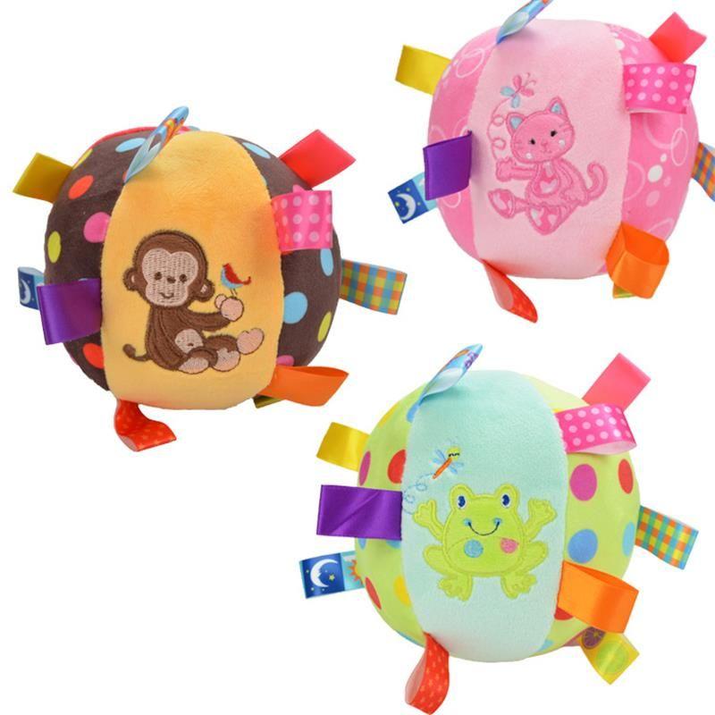 Мультфильм ребенка плюшевые мяч игрушки красочный мягкий обезьяна котенок лягушка погремушка мобильных кольцо колокол игрушка развивающи...