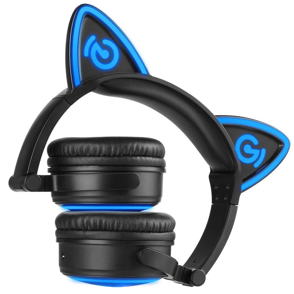 Mindkoo cat ear wireless headphones bluetooth earphone with microphone led flashing glowing Headset fone de ouvido kids cartoon