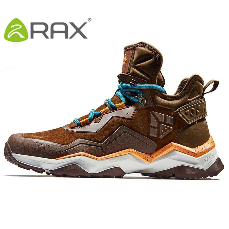 RAX Men's Waterproof Hiking Anti-slip Trekking Multi-terrian Mountaineer Shoes for Winter Breathable Warming of Genuine Leather