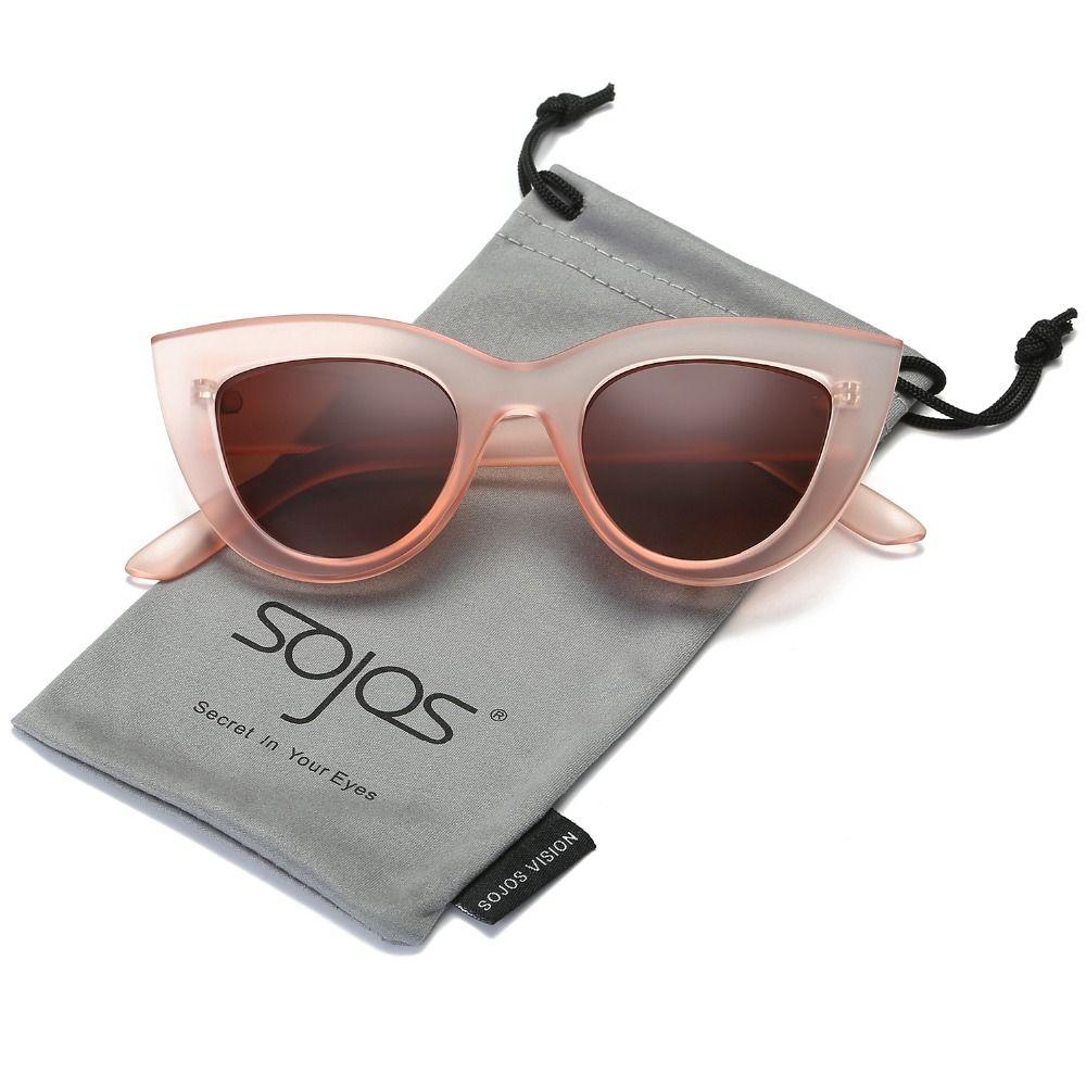 Lunettes de soleil accessoires pour femmes CatEye Style 2017 Marque Fashion Designer Shades noir en plastique UV400 lunettes de soleil oculos de sol SOJOS