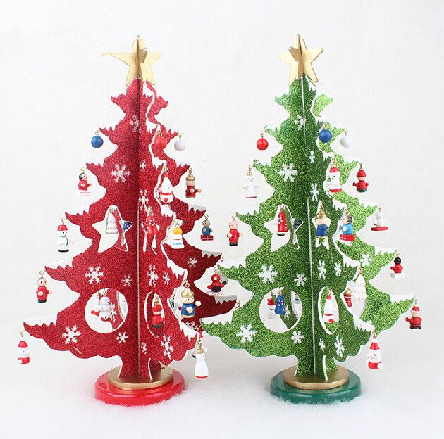XMAS Gift 1 pc 36CM table XMAS trees Decoration wood christmas tree with ornament for X'mas, More Than $100 TNT Free Shipping
