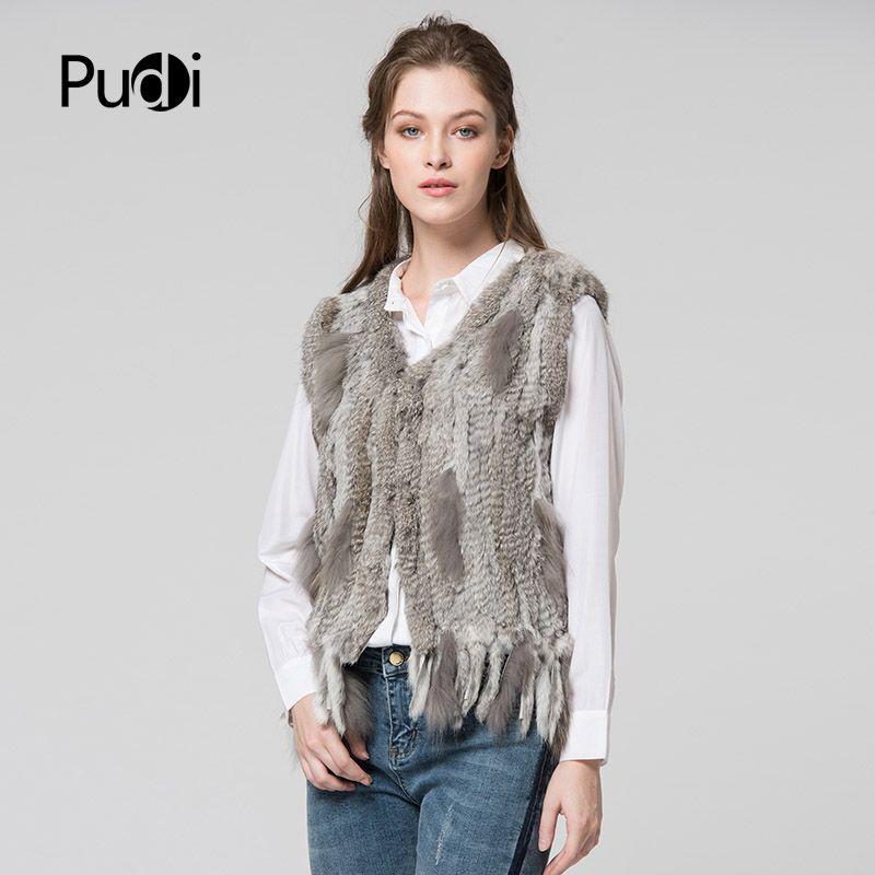 VR031 PUDI tricot tricoté à la main lapin fourrure gilet gilet sans manches vêtement gilet