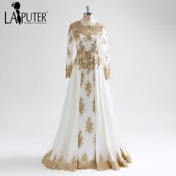 Laiputer 2018 Terbaik Jual Menakjubkan Emas Renda Muslim Lengan Panjang Berat Beading Vintage Arab Populer Evening Prom Dresses