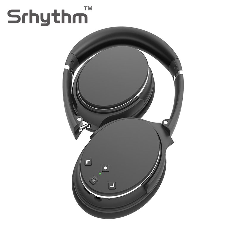Active Noise Cancelling Bluetooth Headphones Hifi Wireless Headphone ANC Headset Foldable Over Ear Earphone with Mic Black NC25