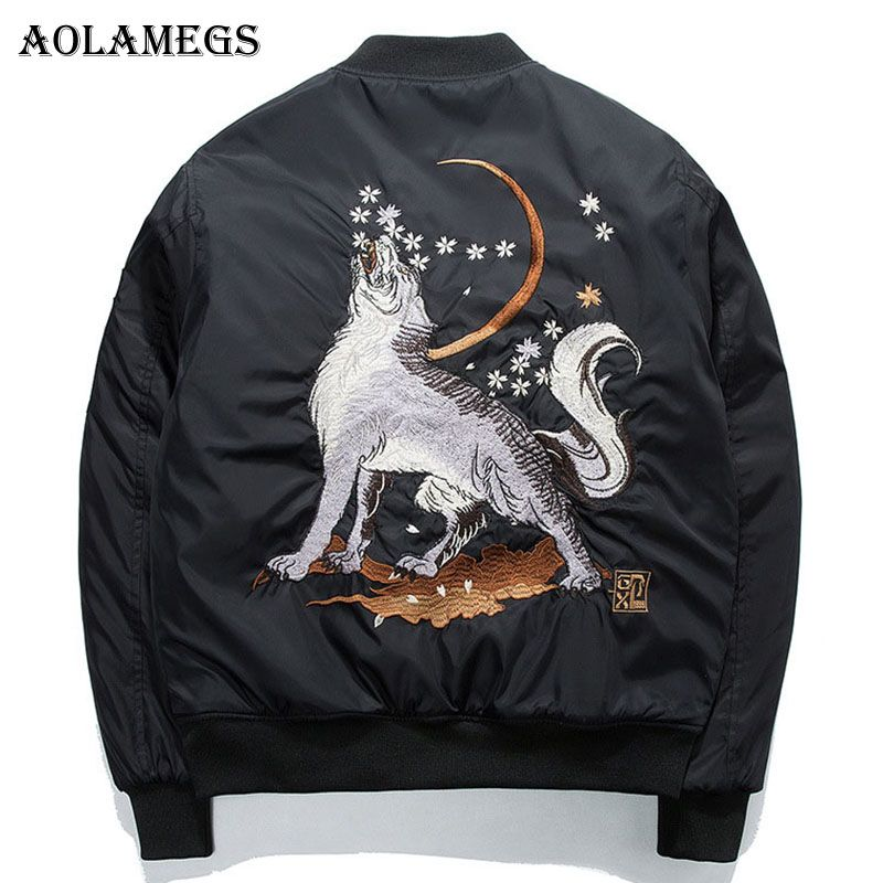 Aolamegs Bomber Jacket Wolf Embroidery Thin Men's Jacket Stand Collar Fashion Outwear Men Coat Bomb Baseball Jackets S