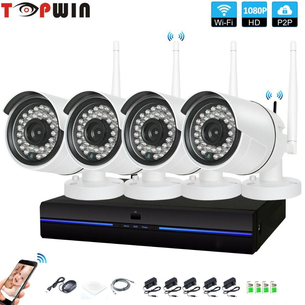 4CH CCTV System Wireless 1080P NVR 4PCS 2.0MP IR Outdoor indoor P2P Wifi IP CCTV Security Camera System Surveillance Kit