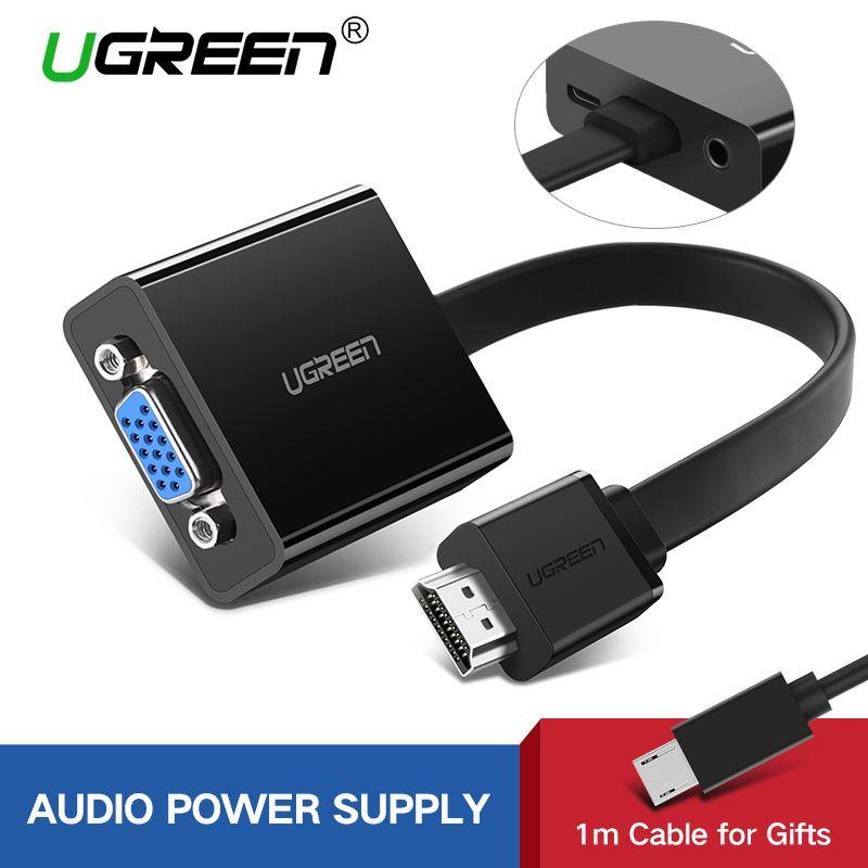 Ugreen Переходник HDMI VGA 1080P Цифро-аналоговый HDMI Аудио Кабель для Xbox 360 PS3 PS4 Pro Портативных ПК TV Box Монитор Проектор HDMI VGA Адаптер