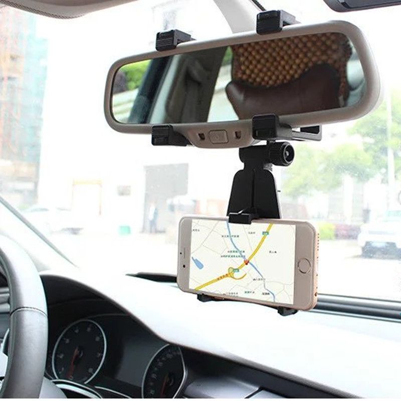 Adjustable Car Auto Rearview Mirror Mount Cell Phone Holder Bracket Stands For Samsung xiaomi Huawei For iPhone Mobile Phone GPS