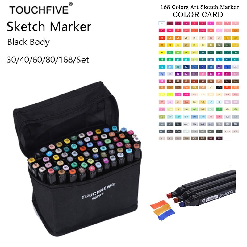 TouchFIVE Art marqueur 168 couleurs alcool Double tête croquis marqueur pour école dessin marqueur Animation conception fournitures scolaires