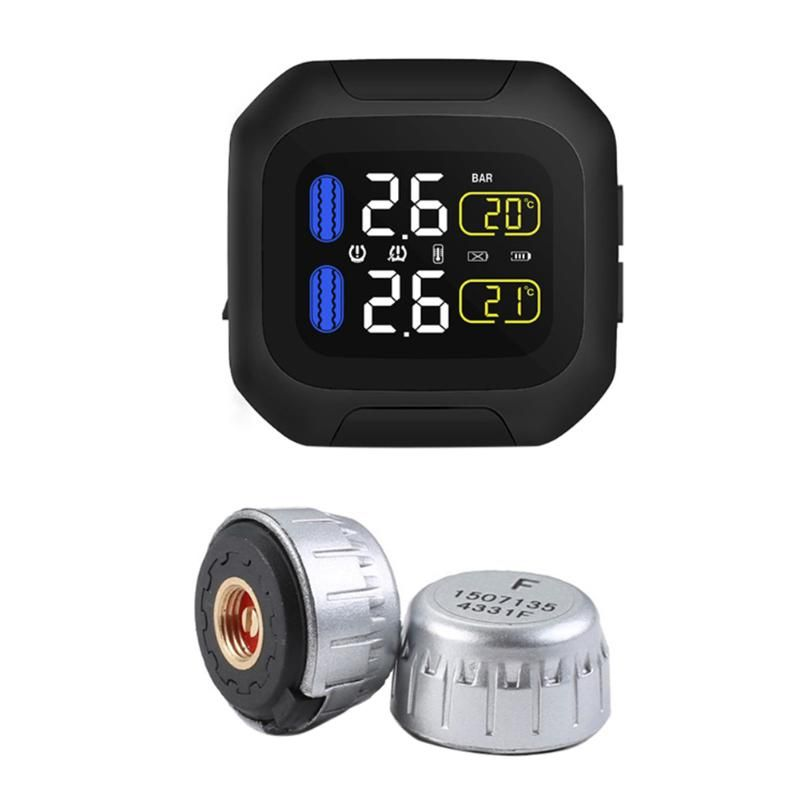 Waterproof Motorcycle Tire Pressure Monitoring System Real Time Monitoring Kit Sun Protection Real Time Monitoring TPMS System