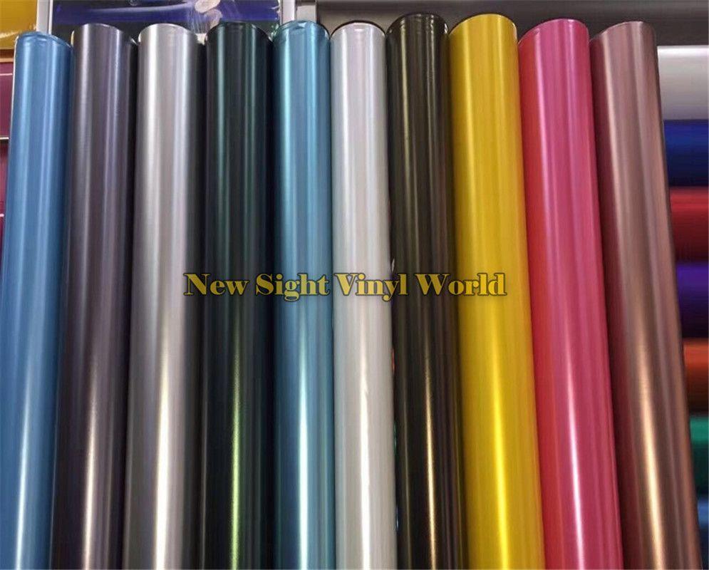 Beste Qualität 18 Farben Schwarz Rose Gold Gelb Matte Satin Chrome Vinyl Film Wrap Gefrorene Wrapping Folie Blase Freies Größe: 1,52*18 M