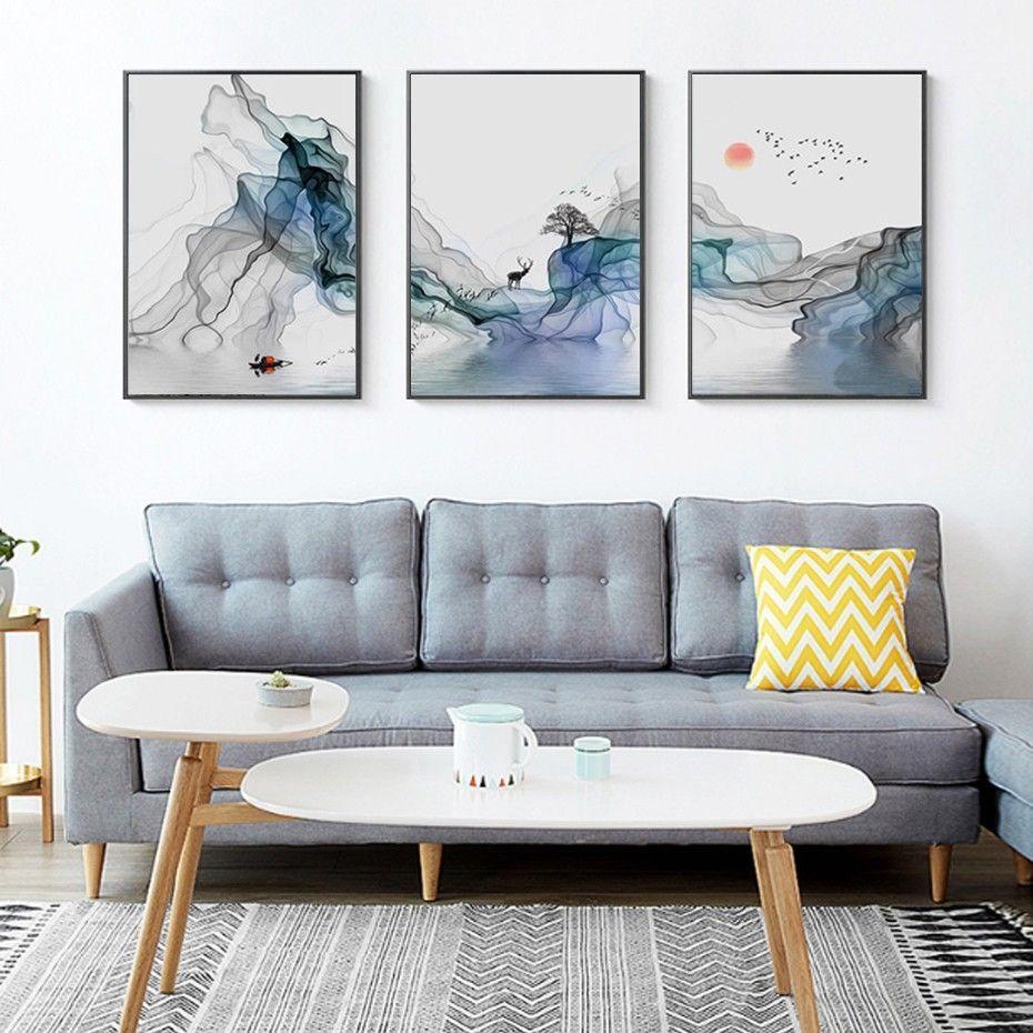 3 pièces abstrait lever du soleil paysage mur Art toile peintures nordique photo affiche imprimer pour salon bureau intérieur décor à la maison