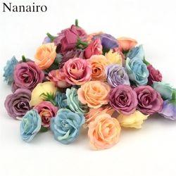 10 unids 3 cm Mini Rosa de Tela de Flores Artificiales Para El Banquete de Boda Zapatos Sombreros Accesorios Para el Hogar Decoración de La Habitación de Matrimonio de Seda flor