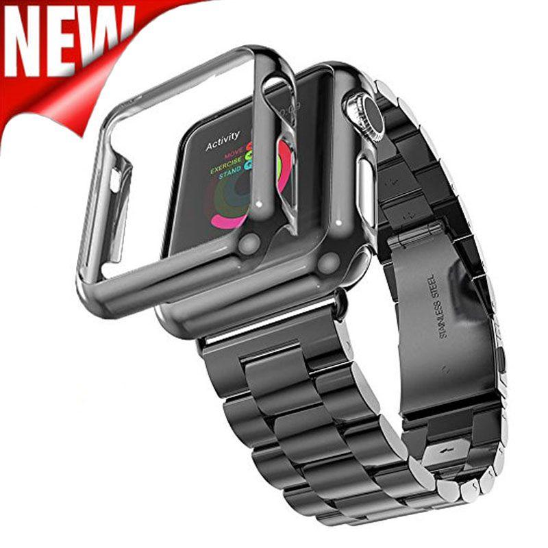 Trois Liens Bracelet En Acier Inoxydable Pour Apple Montre Bande avec Apple Montre Plaqué Étui de protection pour Apple Montre Série 3 2 1