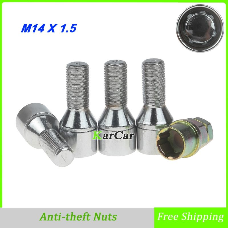 4 Pieces Alloy Steel Anti theft Wheel Screw Bolts with Key For BMW Benz Audi Volkswagen (M14x1.5 Thread Size) Chrome