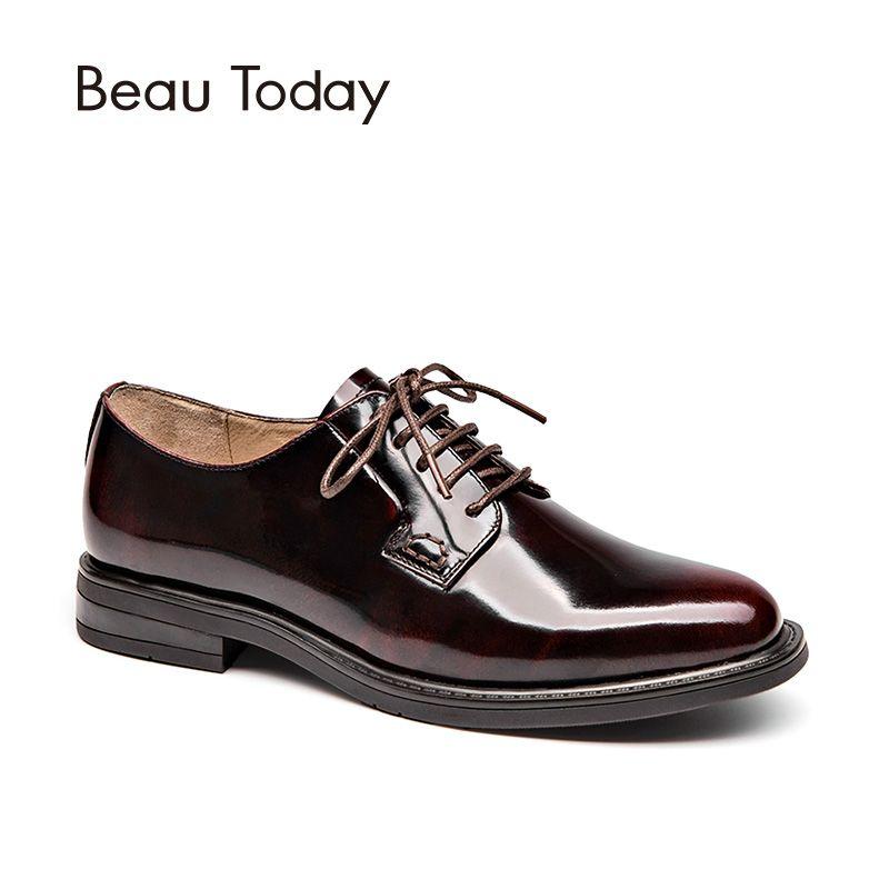 BeauToday Derby Chaussures Femmes Véritable Vache En Cuir Bout Rond Dentelle-Up En Cuir Verni De Mode Lady Appartements À La Main 21088