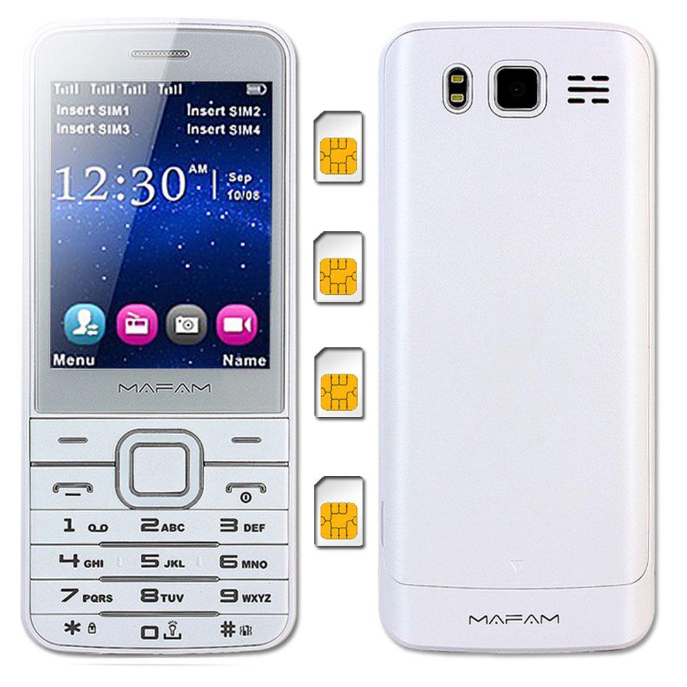 MAFAM V9500 Quad 4 SIM Four Standby Plastic Slim Mobile Phone Flashlight Magic Voice <font><b>Changer</b></font> SOS Speed Dial Phonebook 1000pc M11