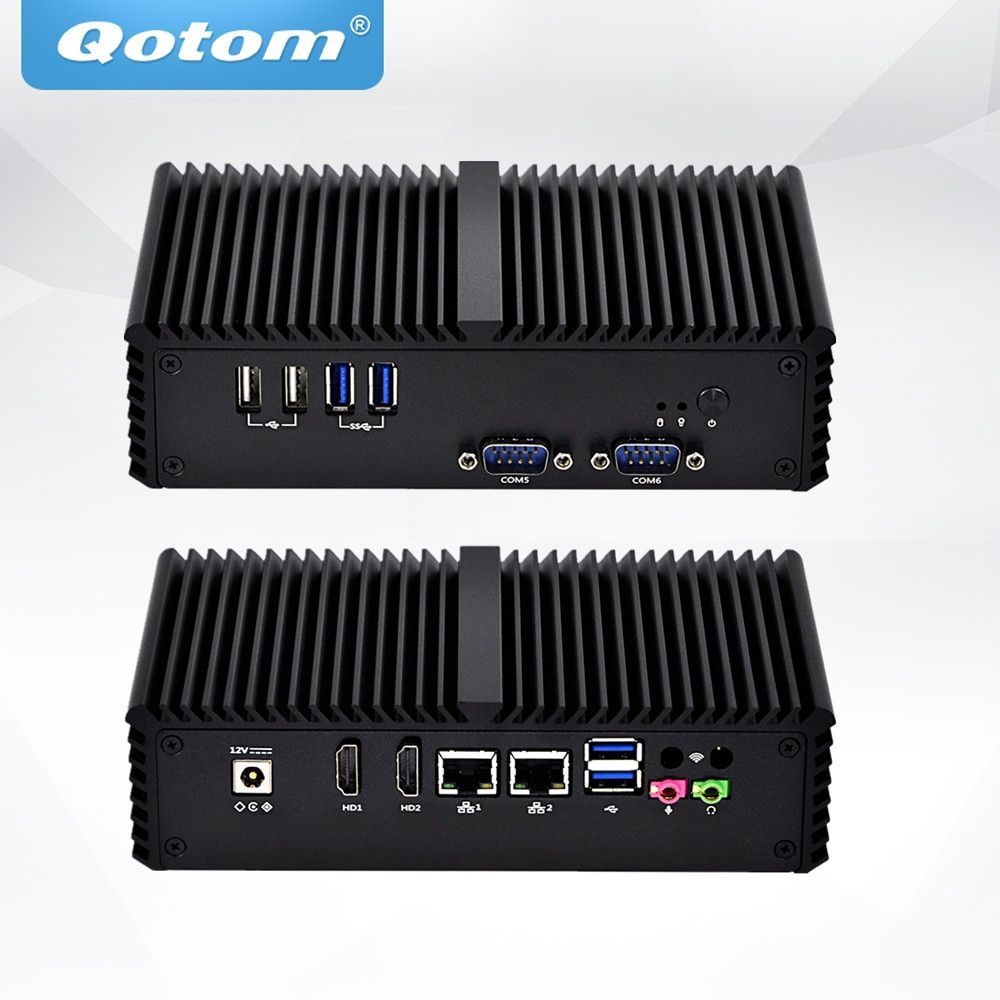 QOTOM Fanless Mini industrial PC with Core i5-4200Y Processor, Dual core up to 1.9 GHz, Dual NIC Mini PC Core i5