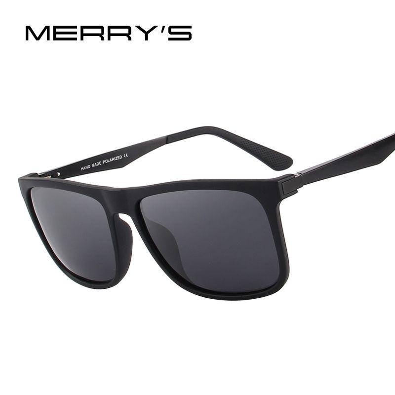MERRY'S DESIGN <font><b>Men</b></font> Polarized Square Sunglasses Fashion Male Eyewear Aviation Aluminum Legs 100% UV Protection S'8250