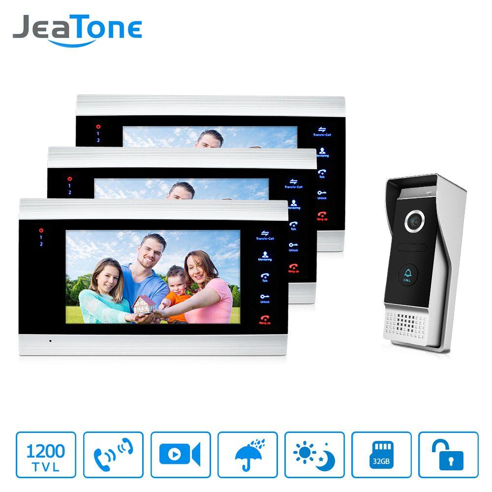 JeaTone 7 inch Video Door Phone Intercom IP65 Waterproof Quality 3 Indoor Monitors+1 1200TVL outdoor Camera Home System