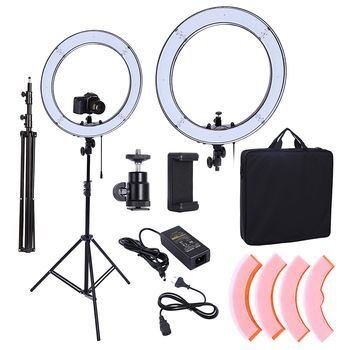 Camera Photo Studio Phone Video 18inch 55W 240PCS LED Ring Light 5500K Photography Dimmable Ring Lamp With 200CM Tripod