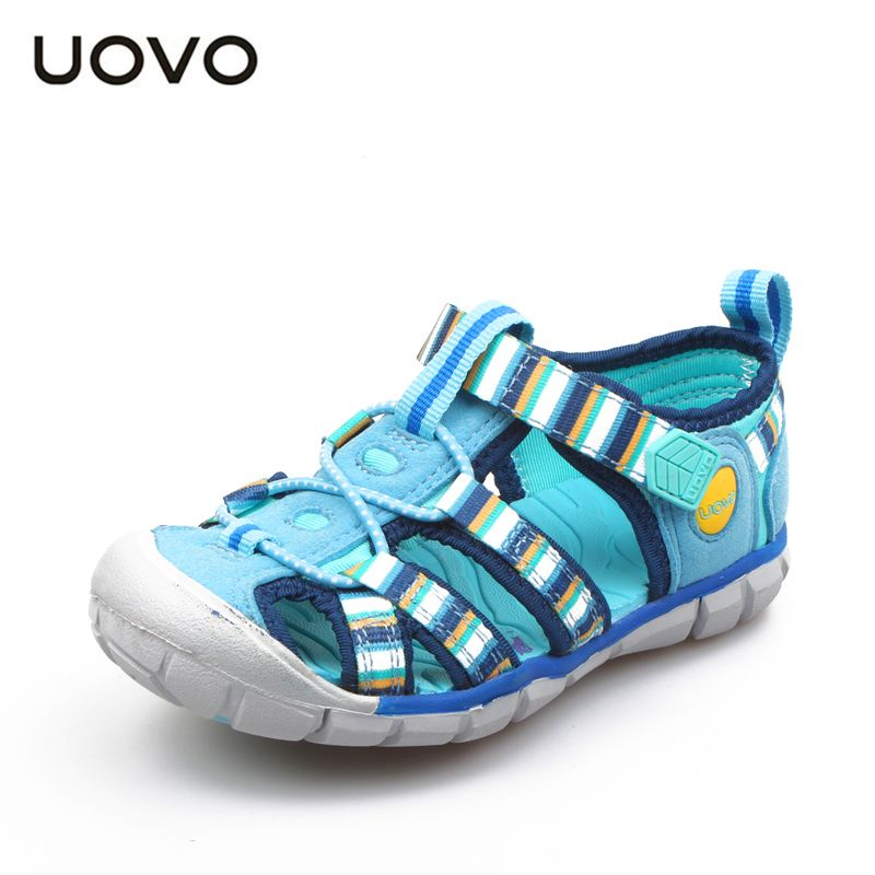 UOVO 2018 New Kids Sandals For Boys And Girls Summer Child Beach Shoes Fashion Hook-and-Loop Kids Shoes Size 26#-33#