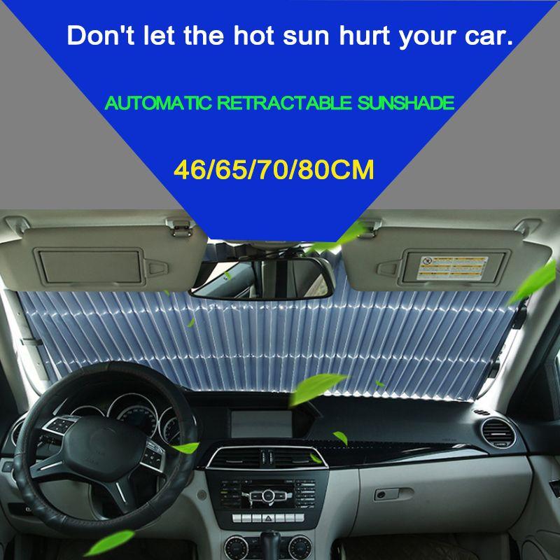 46/65/70 x 155CM Car Retractable windshield sun shade Block sunshade cover Front/Rear window foil Curtain for Solar UV proect