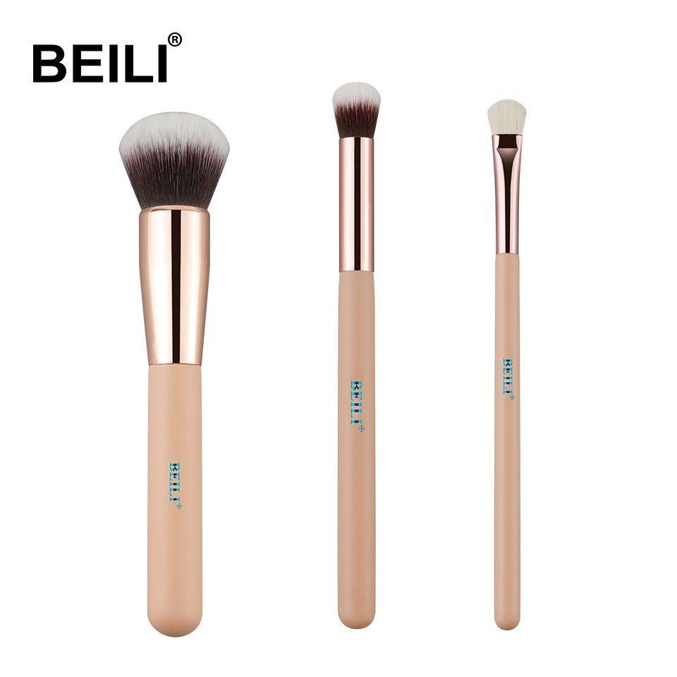 BEILI rose 3 pièces fond de teint synthétique et cheveux de chèvre correcteur Smoky ombre à paupières petit ensemble de pinceaux de maquillage