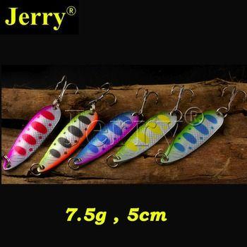 Jerry 5 pcs 7.5g trout pike saumon sandre métal appât sharp crochet haute qualité flutter de pêche cuillère leurre