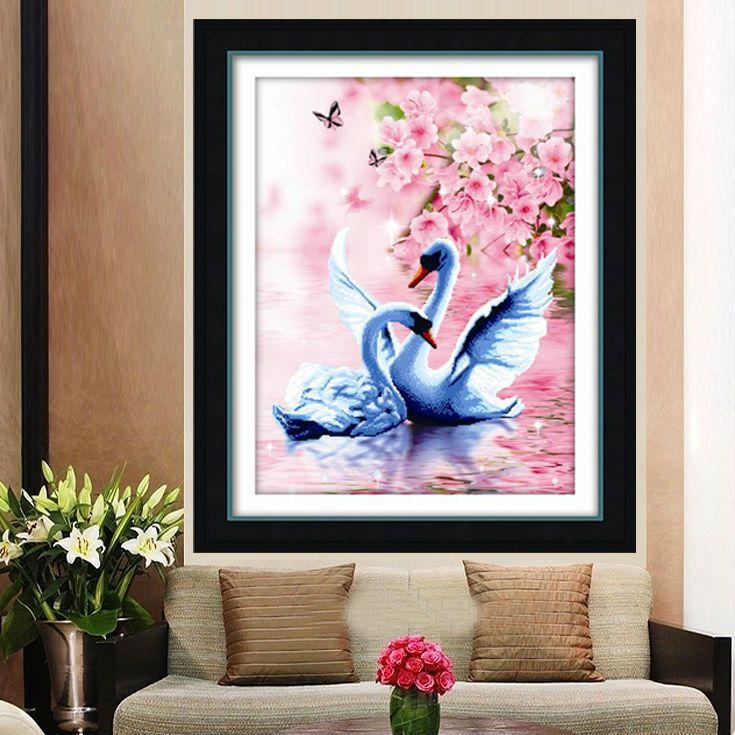 GLymg couture bricolage 3D point de croix cygne impression verticale impression précise chambre parure image de mariage DMC couleur de fil