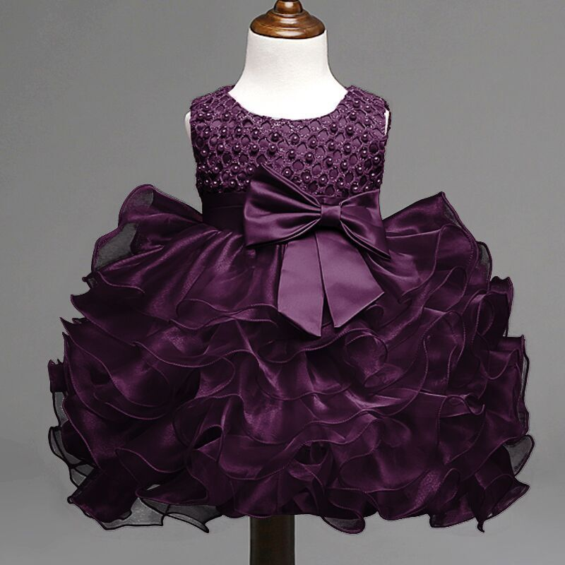 2017 été nouveau-né robe formelle violet sans manches infantile baptême robe de bal robe vêtements pour enfant en bas âge fille première fête d'anniversaire