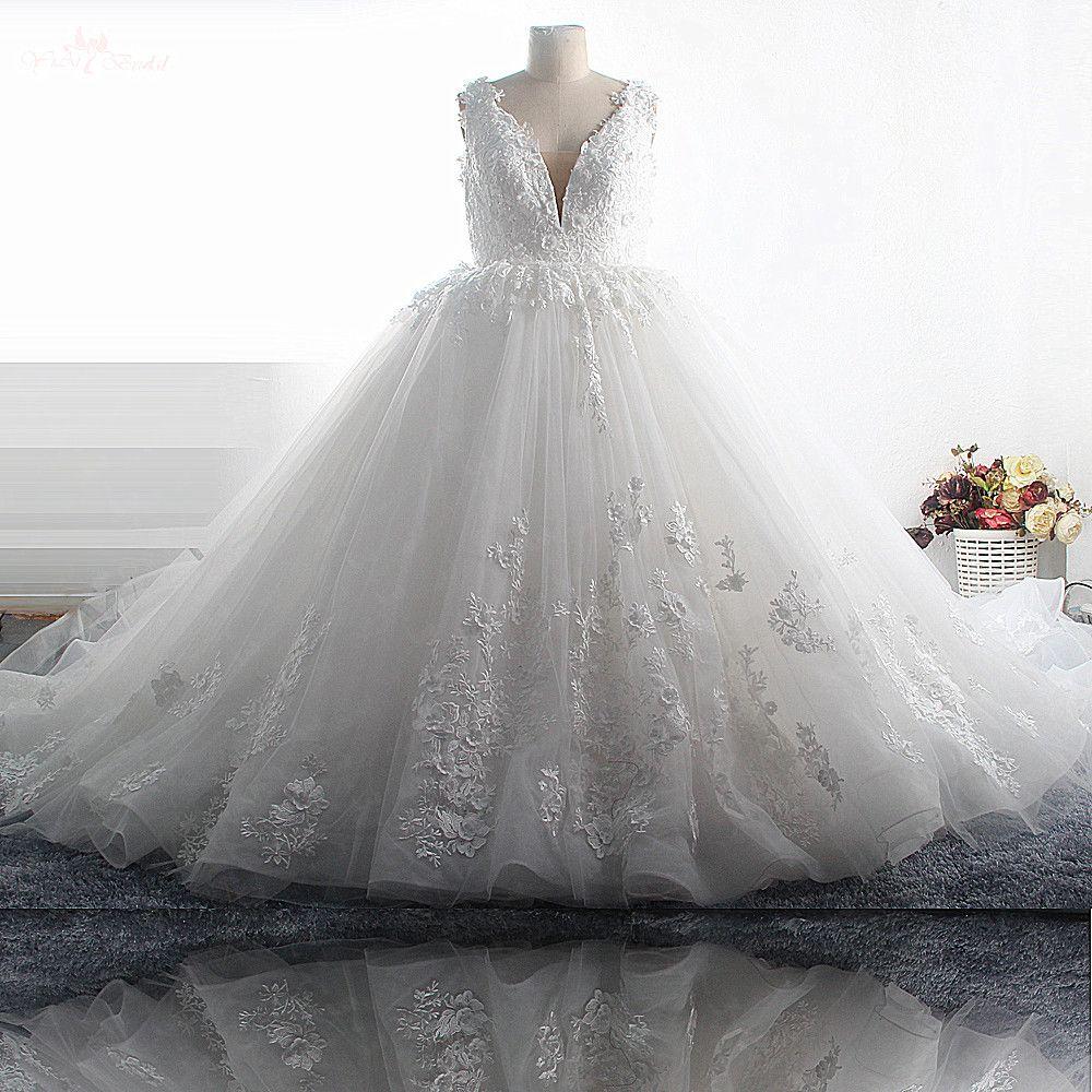 RSW1497 Luxus Lange Zug 3D Blumen V-ausschnitt Plus Größe Hochzeit Kleider