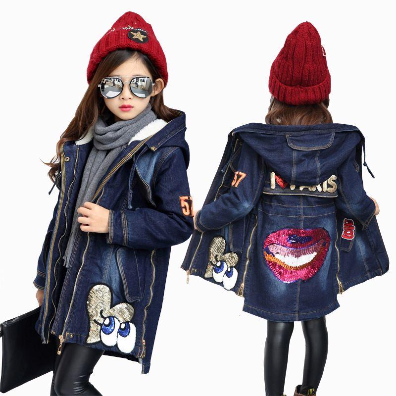 2018 New Winter Kids Girls Denim Jacket Children Plus Thick Velvet Jacket Big Virgin Warm Coat Cotton Hooded <font><b>Outwear</b></font> For Girl