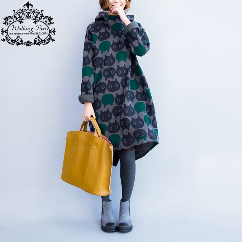 Plus Size Women Hoodies & Sweatshirts Winter Thickening Warm Cotton Fashion Female Cat Print Big Size Casual Turtleneck Dress