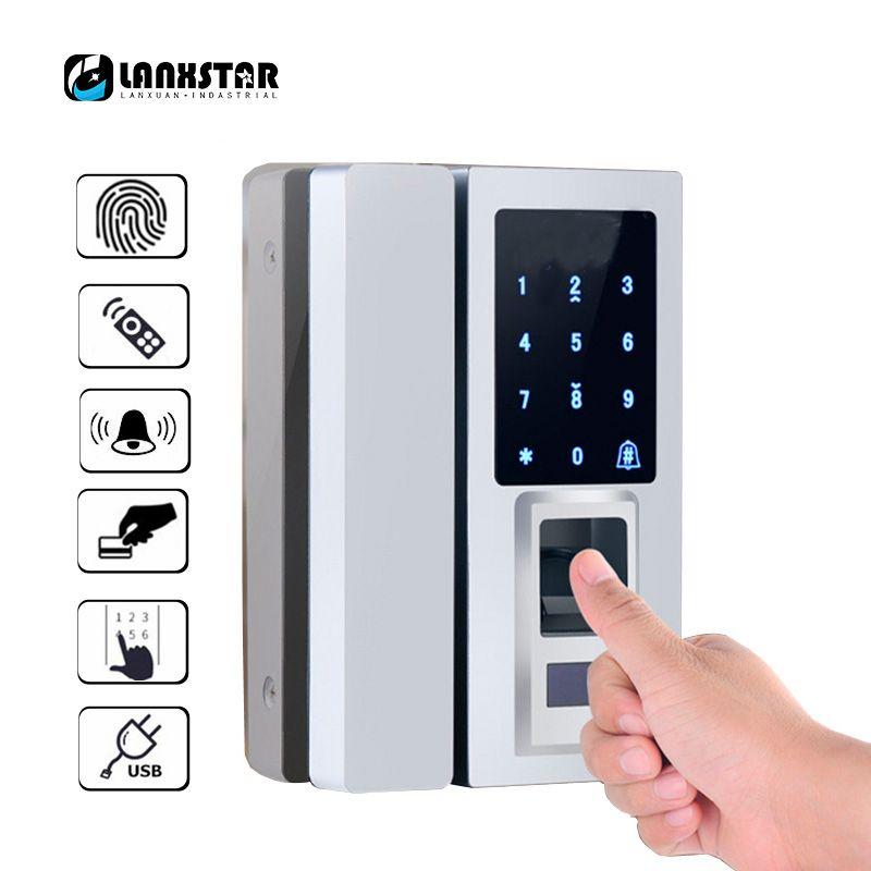Lanxstar Стекло дверь интеллектуальный электронный замок Сенсорный экран отпечатков пальцев/пароль товара/RFID Карты Keyless защелка smart lock